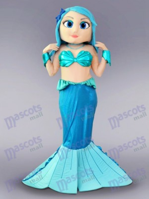 Blue Mermaid Mascot Costume Cartoon