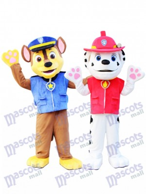 Marshall and Chase Paw Patrol Mascot Costume Cartoon Anime