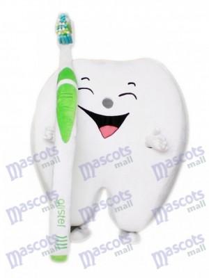 White Tooth Cartoon Adult Mascot Costume