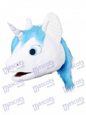 New Unicorn With Blue Mane Mascot HEAD ONLY