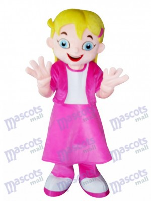 Yellow Hair Girl in Pink Dress Mascot Costume Cartoon