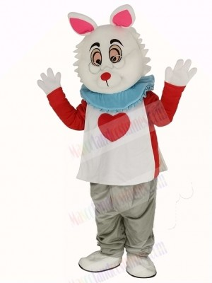 Easter Bunny Rabbit in T-shirt Mascot Costume In Wonderland
