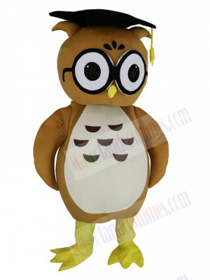 Brown Doctor Owl with Black Hat Mascot Costume
