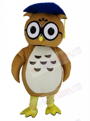 Brown Doctor Owl with Blue Hat Mascot Costume Animal
