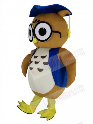 Brown Doctor Scholar Owl in Blue Vest Mascot Costume