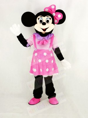 Minnie Mouse in Pink Dress Mascot Costume Cartoon