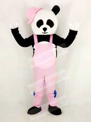 Panda with Pink Overalls and Hat Mascot Costume Cartoon