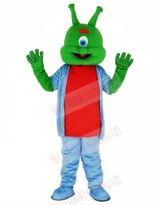 Green Alien in Blue Mascot Costume Cartoon