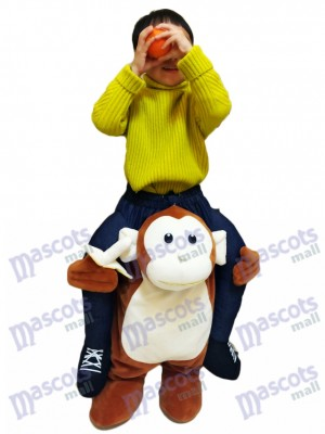 Piggyback Monkey Carry Me Ride Brown Monkey with a Banana For Kid Mascot Costume
