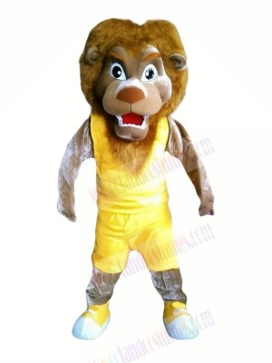 Lion with Yellow Vest Mascot Costumes Cheap