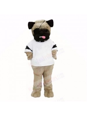 Ugly Pug Dog With White Shirt Mascot Costumes Cartoon