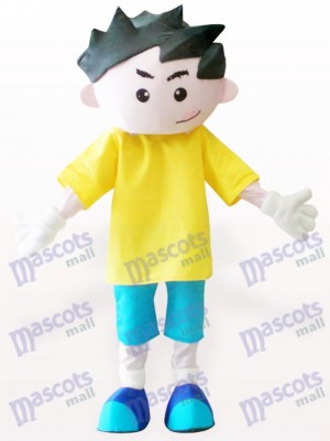 Yellow Clothes Boy Cartoon Adult Mascot Costume