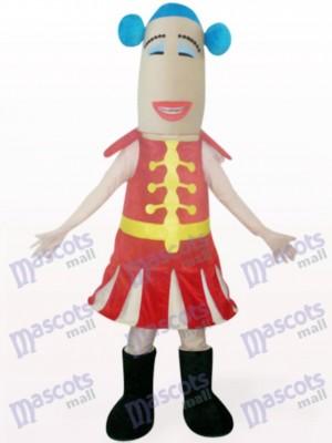 Red Woman Cartoon Mascot Costume