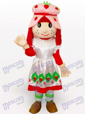 Strawberry Shortcake Girl Cartoon Adult Mascot Costume
