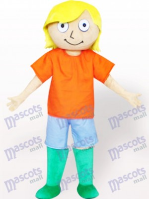 Green Boots Boy Cartoon Adult Mascot Costume