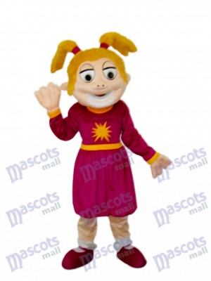 Laughing Girl Mascot Adult Costume Cartoon People