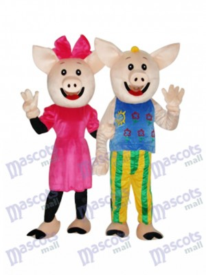 Cocoa Couple Pig Mascot Adult Costume Animal