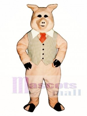Cute Pierre Pig with Vest, Tie & Collar Mascot Costume Animal
