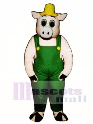 Cute Otis Oinker Pig Hog with Straw Hat & Overalls Mascot Costume Animal