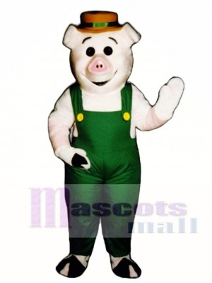 Farmer Piglet Pig Hog with Overalls & Hat Mascot Costume Animal
