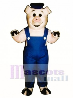 Cute Sailor Piglet Pig Hog with Overalls & Hat Mascot Costume Animal