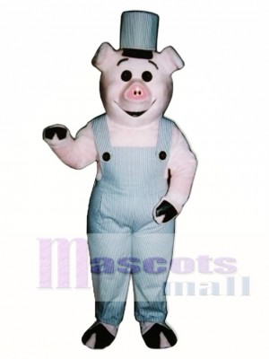 Worker Piglet Pig Hog with Overalls & Hat Mascot Costume Animal