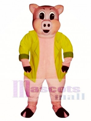 Big Pig with Jacket Mascot Costume Animal