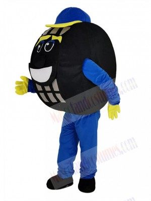 Blue and Black Auto Tyre Cab Tire Mascot Costume
