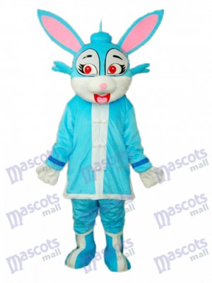 Easter Blue Rabbit in Padded Coat Mascot Adult Costume Animal