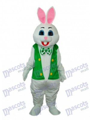 Easter Rabbit with Green Vest Mascot Adult Costume Animal