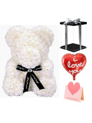 Diamond White Rose Teddy Bear Flower Bear Best Gift for Mother's Day, Valentine's Day, Anniversary, Weddings and Birthday