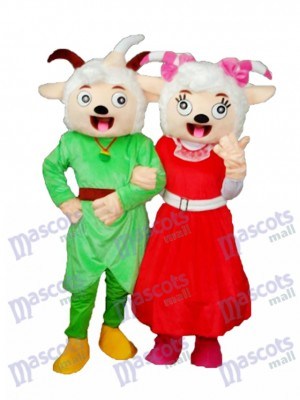 Laughing Mmouth Pleasant Goat & Beauty Sheep Mascot Adult Costume Animal