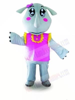 Pink Vest Rhinoceros Mascot Costumes