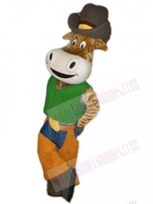 Funny Cowboy Ox Cattle in Green Shirt Mascot Costume