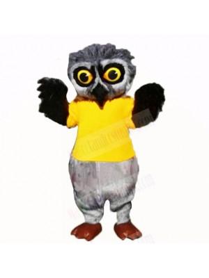 Grey Furry Owl with Yellow Shirt Mascot Costumes School