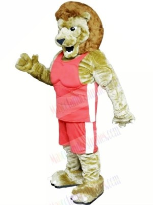 Power Lion with Pink Suit Mascot Costumes Cartoon