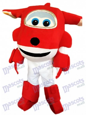 Red Airplane Jett Cartoon Super Wings Plane Mascot Costume Cartoon Anime