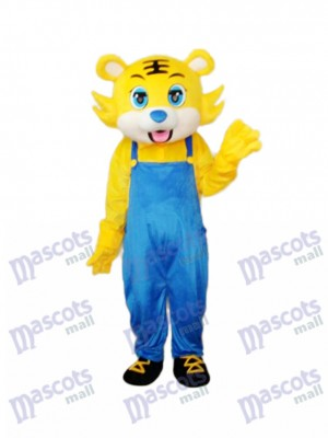 Yellow Tiger in Blue Overall Mascot Adult Costume Animal