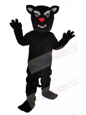 Fierce Black Panther with Red Nose Mascot Costume