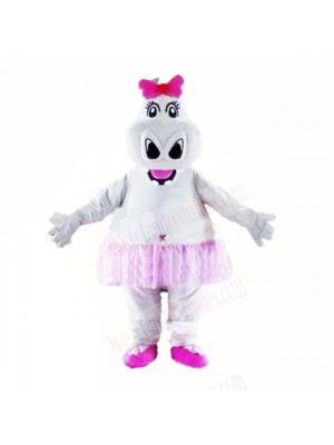 Girl Hippo with Pink Bow Mascot Costumes Cartoon