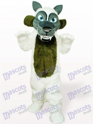 White Long Hair Wolf Animal Adult Mascot Costume