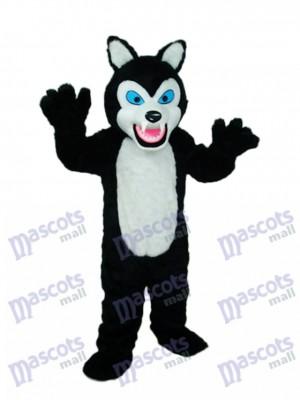 Long-haired Black Wolf Mascot Costume Animal
