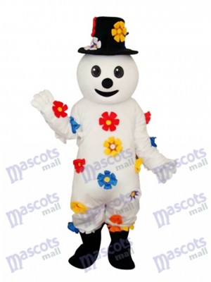Flower Snowman Mascot Adult Costume Christmas Xmas