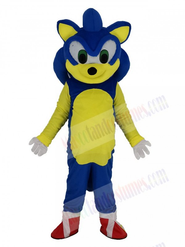 Blue and White Hedgehog Sonic with Green Eyes Mascot Costume