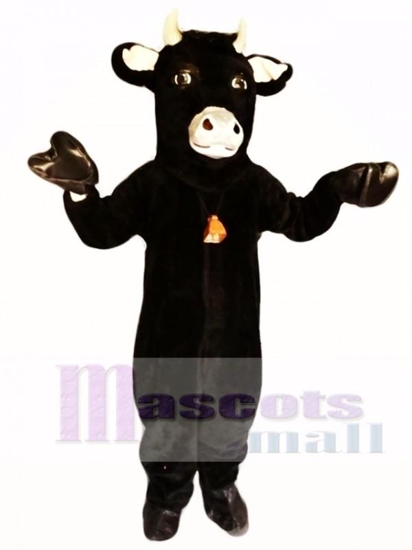 Black Furry Bull Mascot Costume