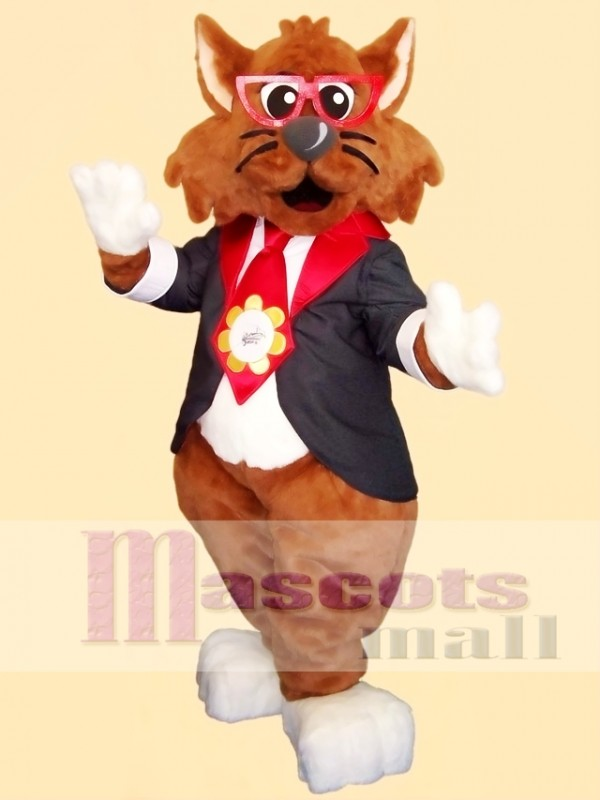 Gentle Georgia Glasses Cat Mascot Costume