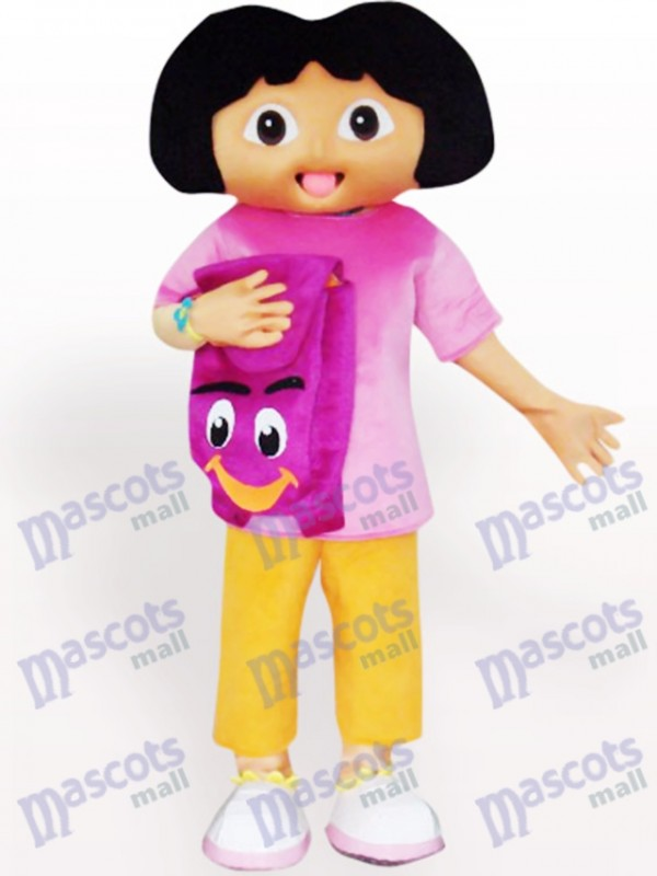 Solid Black Face Dora Cartoon Adult Mascot Costume