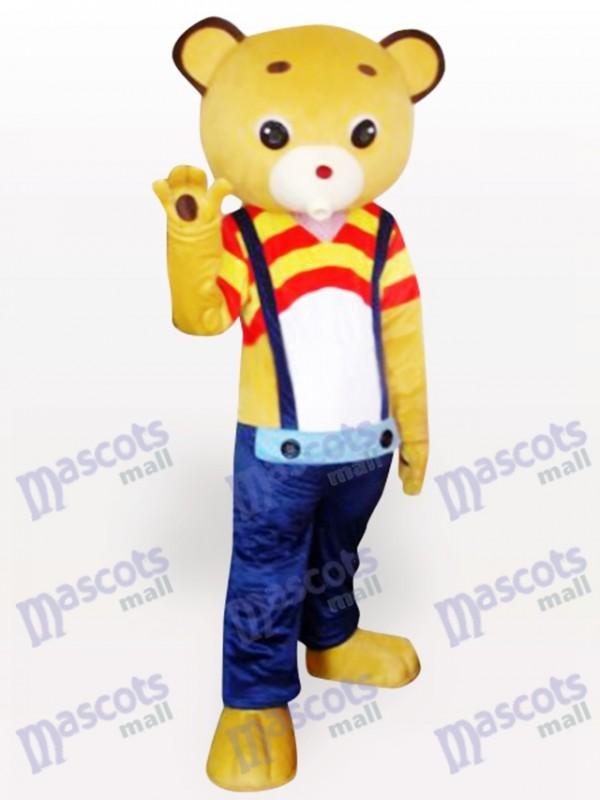 Strap Yellow Bear Cartoon Mascot Costume