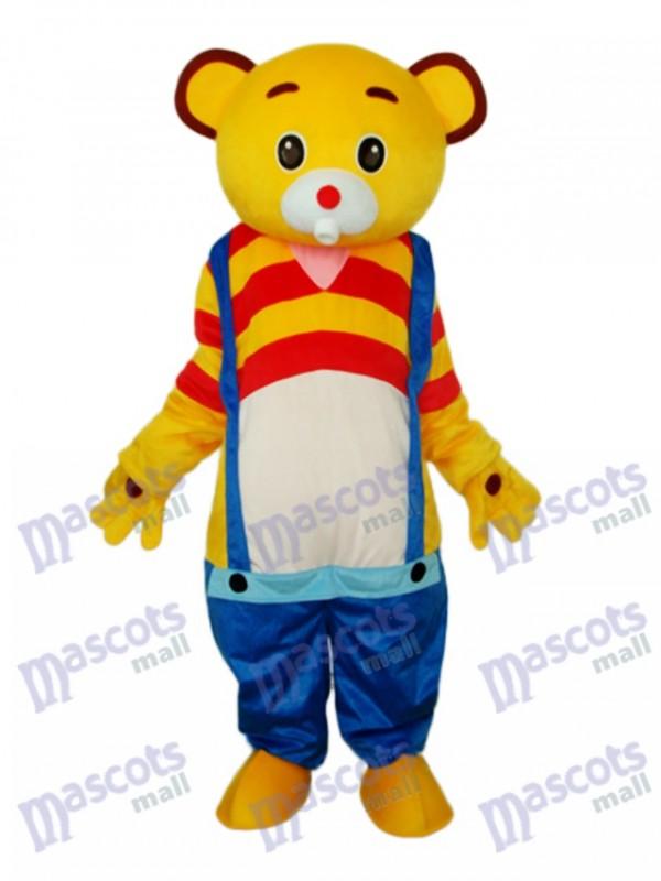 Yellow Bear Wear Blue overalls Mascot Adult Costume