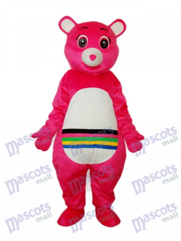 Pink Bear with Colorful Belly Mascot Adult Costume